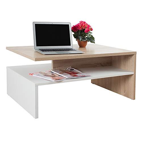 RICOO WM080-W-ES Tavolino da salotto 90x42x60cm Tavolo soggiorno basso Design moderno rettangolare Mobile divano Legno bianco rovere marrone