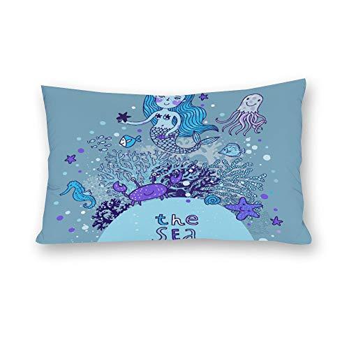 Mesllings Housse de coussin rectangulaire en toile avec motif sirène de dessin animé avec motif de sirène et fruits de mer
