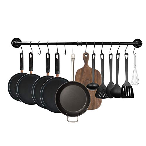 MINCORD 39 inch Pot Bar Back Wall Mounted Detachable Pans Hanging Organizer Rail Kitchen Lids Utensils Hanger, Coffee Mug Rack, Cup Hanger Bar with 14 S Hooks, Black
