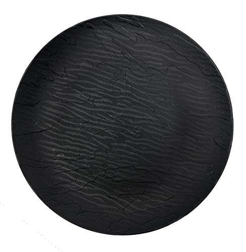 Decorline - Schwarz Stabile Luxe Kunststoff Teller Wiederverwendbar in Holzoptik 26 cm -Mahagony Collection