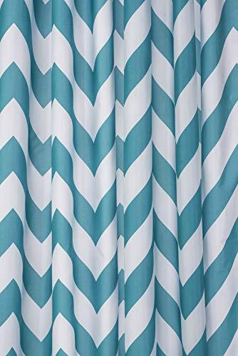 Croydex Aqua Chevron Textil-Duschvorhang mit Hygiene 'N' Clean, Aqua/weiß