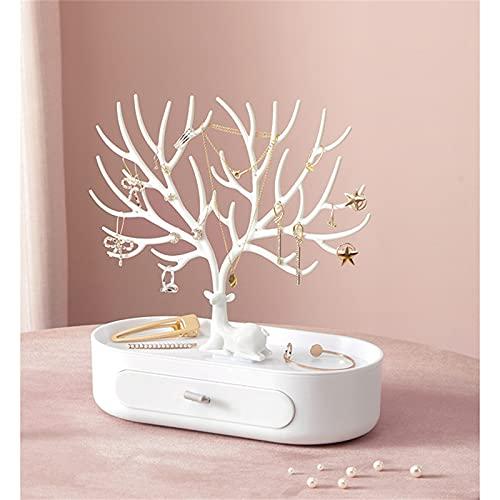 JTKJ - Espositore per gioielli con vassoio per albero e orecchini di cervo, per collane, anelli, gioielli, organizer per trucchi, colore: bianco