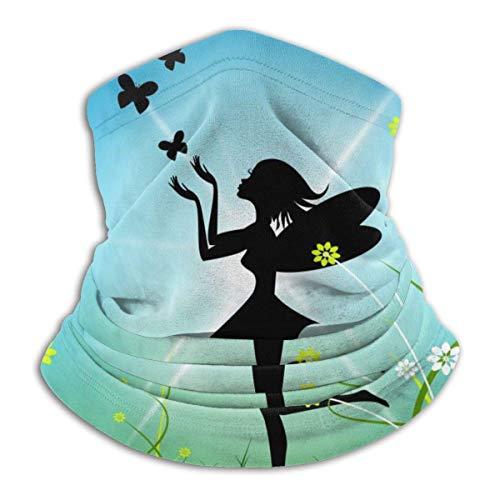 Night-Shop Feen-Sonne, die magisches Bouquet darstellt Sommer-Röhrenhalswärmer Weiche Kopfbedeckung Gesicht Schalabdeckung Schild für kaltes Wetter Winter Outdoor-Sport Schwarz