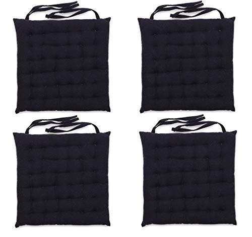 Homevibes Stuhlkissen, Schlaufenstuhlkissen, Set mit 4 Kissen für drinnen oder draußen, 100% Baumwolle, Größe 40 x 40 x 6 cm, verschiedene Designs zur Dekoration Ihres Zuhauses. 40x40x6cm