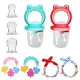 MIMIDOU Baby Food Feeder/Fruit Feeder 2 Pcs, 3 Pcs Different Sized Silicone Teat Sac, Teether 2 Pcs and Pacifier Chain 2 Pcs. (Frog Set 9Pcs)