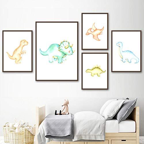 ZDFDC Cartoon Dinosaurier Ei Vulkan Poster und Drucke Kinderzimmer Wandkunst Leinwand Malerei Baby Kinderzimmer Dekor Wandbilder