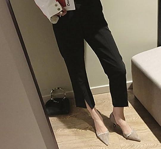 AJUNR Femmes Loisirs été Mode Tous-Match Les étudiants des Chaussures A Fait Bouche Peu Profonde Talons en Daim marron Diamond 7cm