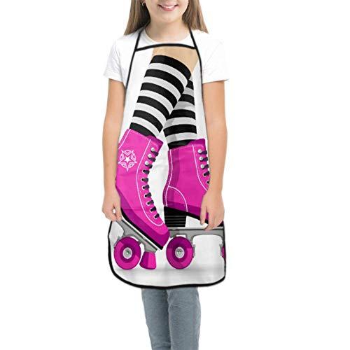 Kinderschürze mit Kochmütze Nette Retro-Rollschuhe Farbe Schürze für Kinder Kinderschürze Gemälde wasserdicht mit Tasche zum Kochen Backen Malerei und Party