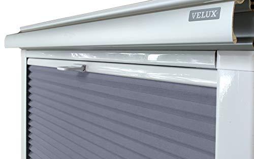 Home-Vision® Dachfenster Premium Doppelplissee Wabenplissee ohne Bohren Velux-kompatibel (Weiß-Graphit für SK06 - Weiß) Zweifarbig Blickdicht Sonnenschutz, Alle Montage-Teile inklusive