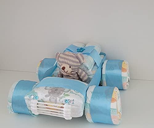 Windel Auto blau, Windelauto, Windeltorte, Rennauto, Pampers Gr.3, Baby Geburt, Geschenk zum Taufe, Babyparty