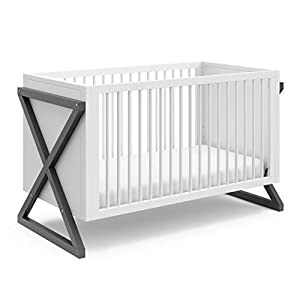 Storkcraft Equinox 3-in-1 Convertible Crib (Gray) – Easily Converts to Toddler Bed and Daybed, 3-Position Adjustable Mattress Support Base, Modern Two-Tone Design for Contemporary Nursery