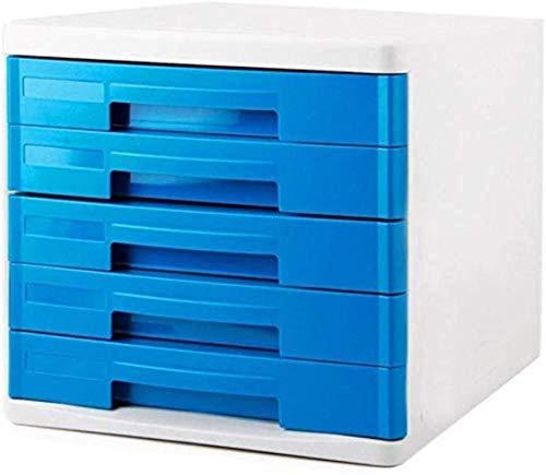 Archivadores Cajoneras verticales Gabinete de almacenamiento de datos Caja de almacenamiento de archivos Plástico Armario azul Muebles de oficina en casa (Color: Azul 5), Color: Azul 4 estantería (Col
