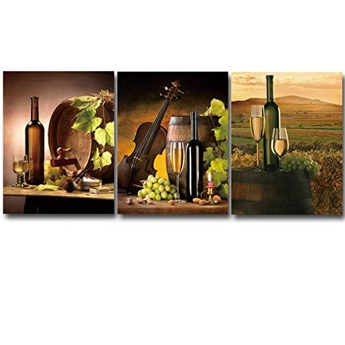 RHBNVR HD-druk canvas schilderij 3 panelen moderne HD gedrukt rode wijn champagne wijnglas canvas druk ruimtedecor druk poster canvas