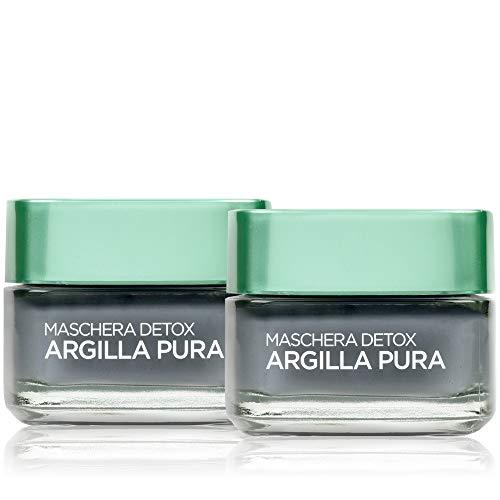 L'Oréal Paris Trattamenti Maschera per il Viso Argilla Pura Detox con Carbone, Detossina e Illumina la Pelle, 50 ml, 1 Confezione da 2 Pezzi
