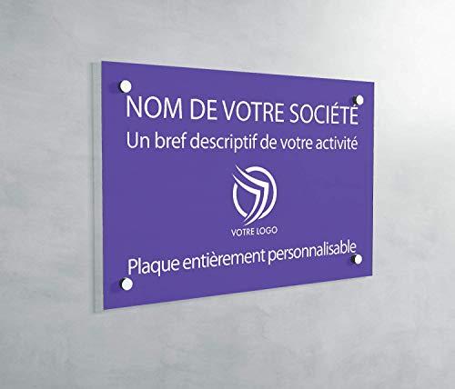 Plaque Professionnelle PVC - Plaque Gravée À Personnaliser 30 x 20 cm – 21 Couleurs Disponibles (Violet)
