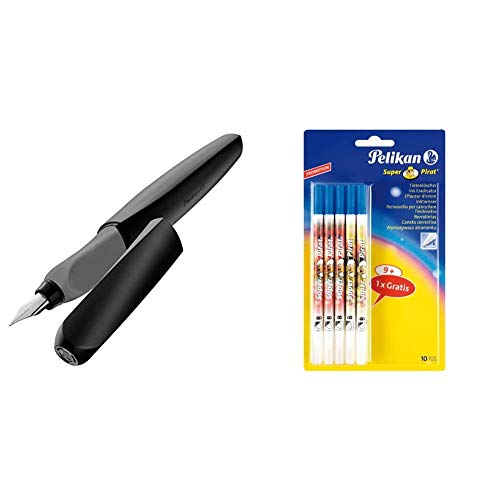Pelikan 946806 - Pluma estilográfica Twist cartucho de tinta azul incluido, mango ergonómico + Super Pirat B - Borrador de tinta (9 unidades + 1 gratis)