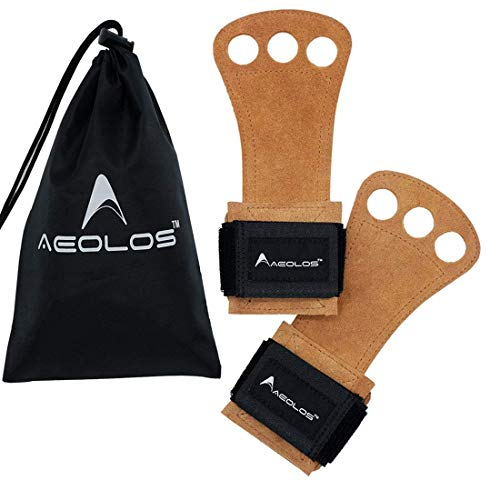 AEOLOS Leather Gymnastics Hand Grips-Great for Gymnastics,Pull up,Weight Lifting,Kettlebells and Cross Training (Brown(2 Layers Leather), Medium)