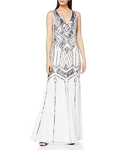 Frock and Frill Gilda V-Neck Embellished Maxi Dress Vestito da Sera Donna, Bianco (White #111111), 40 (Taglia Produttore: 8)