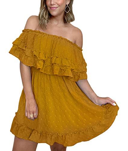 KIRUNDO 2021 Summer Women's Off Shoulder Mini Dress Polka Dot High Waist Half Sleeves Swing Ruffle Short Flared Dress (Large, Yellow)