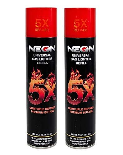 2 Cans Neon 5X Butane Refill Fuel Fluid Lighter Ultra Refined 5 Times...