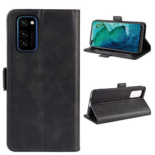 ZAORUN Funda protectora para teléfono móvil Huawei Honor V30 / Honor V30 Pro con doble hebilla Crazy Horse Business Funda para teléfono móvil con función de soporte para tarjetas, color negro