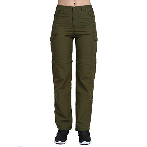 PHIBEE Pantalon Convertible pour Femme Pantalon de Randonnée Extensible Rapide Extérieure Vert Armée XXL