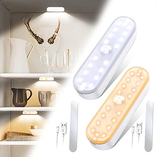 Luce Armadio 2 Pezzi, Lampada Guardaroba con Sensore Movimento, Usb Batteria Ricaricabile Luce Emergenza,Con Strisce Magnetiche per Armadio,Corridoio,Armadio,Cucina,3 Modalità