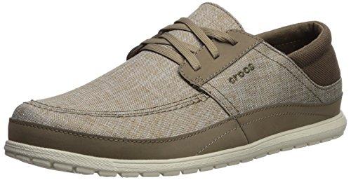 Crocs Men's Santa Cruz Playa Lace-Up Sneaker | Comfortable Casual Loafer, Khaki/Stucco, 7 M US