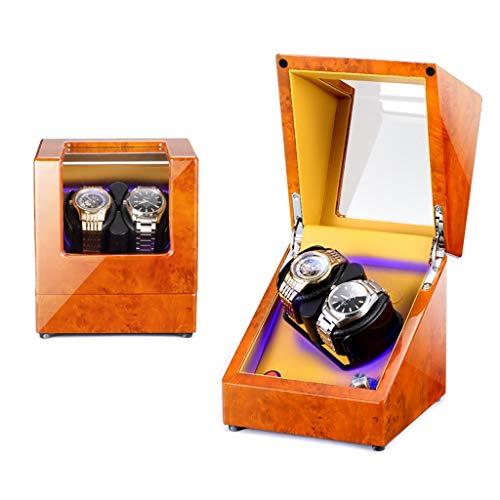 Oksmsa Doble Cajas Giratorias para Relojes, Pintura para Piano Caja De Reloj para Relojes Automáticos, 5 Modos De Rotación, Motor Silencioso, Almohadas De Reloj Suaves, Iluminación Incorporada