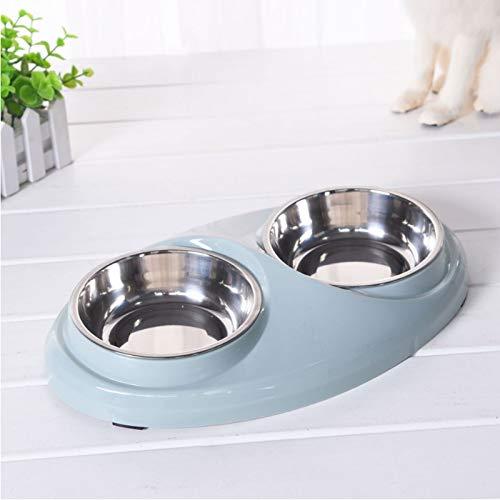 Smklcm Big Dog Bowl Creatieve hondenmand dubbele nap kat plastic voerbak pet bowl anti-slip pad nap voor hond en kattenbowl, Lichtblauw