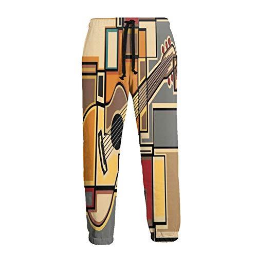 Hangdachang Chitarra Geometrica Vintage Art Pantaloni Sportivi da Uomo Pantaloni da Jogging Pantaloni Casual Pantaloni Sportivi con Coulisse 2XL