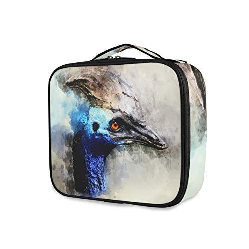 Multifunción con compartimentos ajustables Acuarela Blue Bird Cosmetic Box Bolsa de maquillaje...