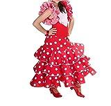 AMINA Vestido de niña para la danza flamenco o sevillanas (Rojo topos blancos, 4/5 años)