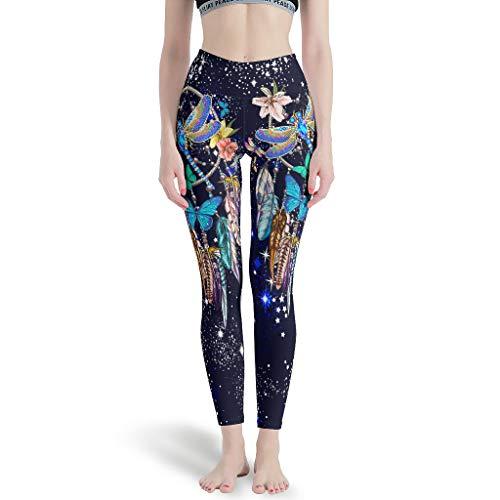 Dreamcatcher Blue Dragonfly - Pantaloni da yoga altamente elastici, ideali per baseball, colore: bianco