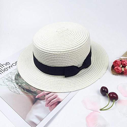 SLU Mujer Casual Clásico Bowknot Paja Plana Sombrero de sol Niñas Sombreros de playa, Blanco, talla única