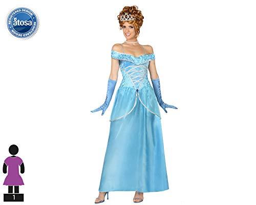 Atosa-29005 Disfraz Princesa de Cuento, color celeste, XL (29005)
