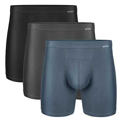 DAVID ARCHY Boxershorts Herren Supima Baumwolle Langes Beins Unterhosen mit Penis Loch Unterwäsche Atmungsaktive Funktion 3er Pack
