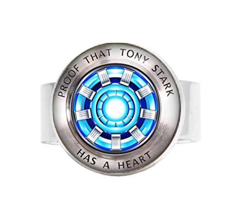 bab Tony Stark, Halskette mit Lichtbogenreaktor-Anhänger, Kunstgeschenke, für Sie, für Ihn, verstellbarer Ring