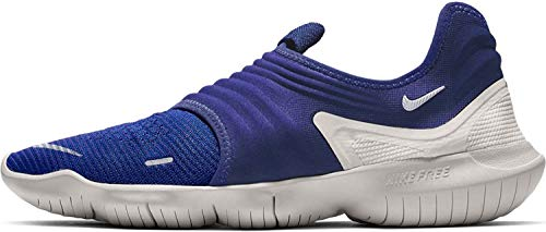 Nike Mens Free RN Flyknit 3.0 Laceless Gym Running Shoes, Deep Royal Blue/White-platinum Tint, 11.5