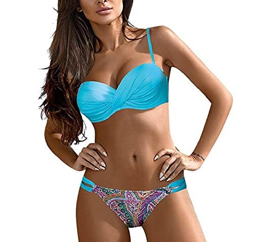 CMTOP Bikinis Mujer 2021 Bañador con Cuello en V Sexy Bikinis de Dos Piezas Falda de Playa Traje de baño Sujetador Anudado Trasero Ajustable