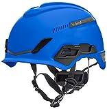 Casco de Seguridad MSA V-Gard H1 Trivent para Escalada - con ventilación - Azul - 52–64 cm - Casco con barboquejo para Trabajo en Alturas y Rescate - EN12492 y ANSI