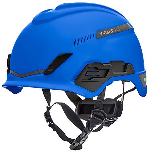 Casco de Seguridad MSA V-Gard H1 Trivent para Escalada - con ventilación - Azul - 52–64 cm - Casco con barboquejo para Trabajo en Alturas y Rescate - EN12492 y ANSI 🔥