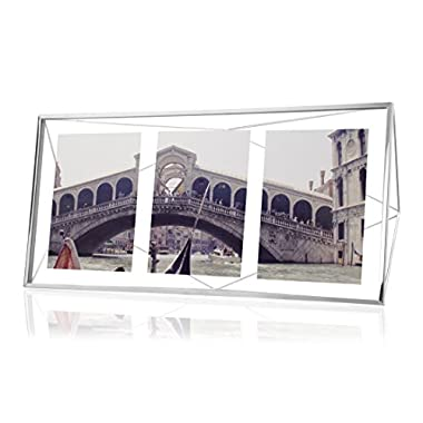 Umbra Prisma Multi Photo Picture Frame – Floating Wall or Desk Photo Display for Pictures, Art, Illustrations, Graphic Text & More, Metal, Chrome