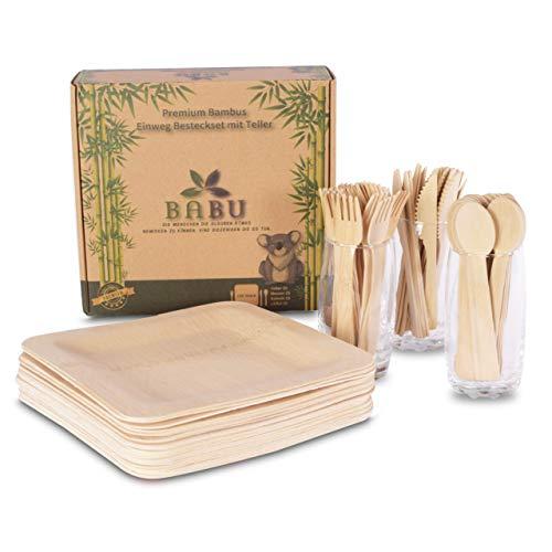 Set de couverts jetables en bambou avec assiettes – Set de vaisselle en bambou comme alternative au plastique ou au papier – 25 assiettes en bambou, 25 couteaux, 25 fourchettes, 25 cuillères