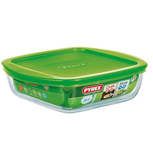 Pyrex - Recipiente quadrato per conservare gli alimenti, con coperchio, in vetro, 20 x 17 x 5,5 cm, Vetro Boro, 1L