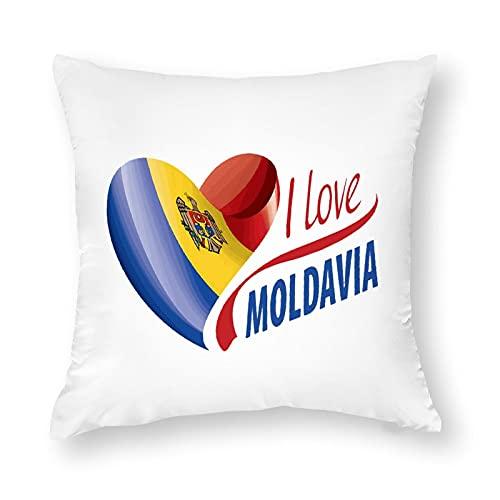 Kissenbezug, Motiv: Flagge Moldawien, quadratisch, dekorativer Kissenbezug für Sofa, Couch, Zuhause, Schlafzimmer, für drinnen & draußen, 45,7 x 45,7 cm