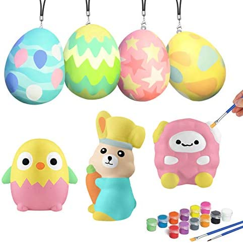 ORIENTAL CHERRY Easter Crafts for Kids 12Pcs DIY Easter Eggs Hunt Squishy Toys Easter Art Decorations product image