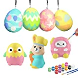 Package includes 9 blank super-squishy eggs, 1 bunny, 1 chick and 1 sheep with 12 paints, 2 brushes, 9 lanyards and 1 packing list card. Made of super slow-rising material for returning original appearance from squeezing. Get your kids together to pa...