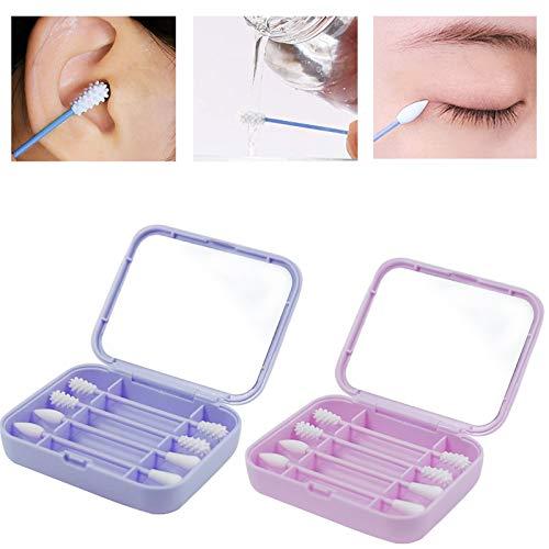 Bastoncillos de algodón reutilizables Limpiador en espiral, kit seguro de eliminación de cera para oídos con estuche y espejos cosméticos para limpieza de oídos o maquillaje de damas ( Color : A )