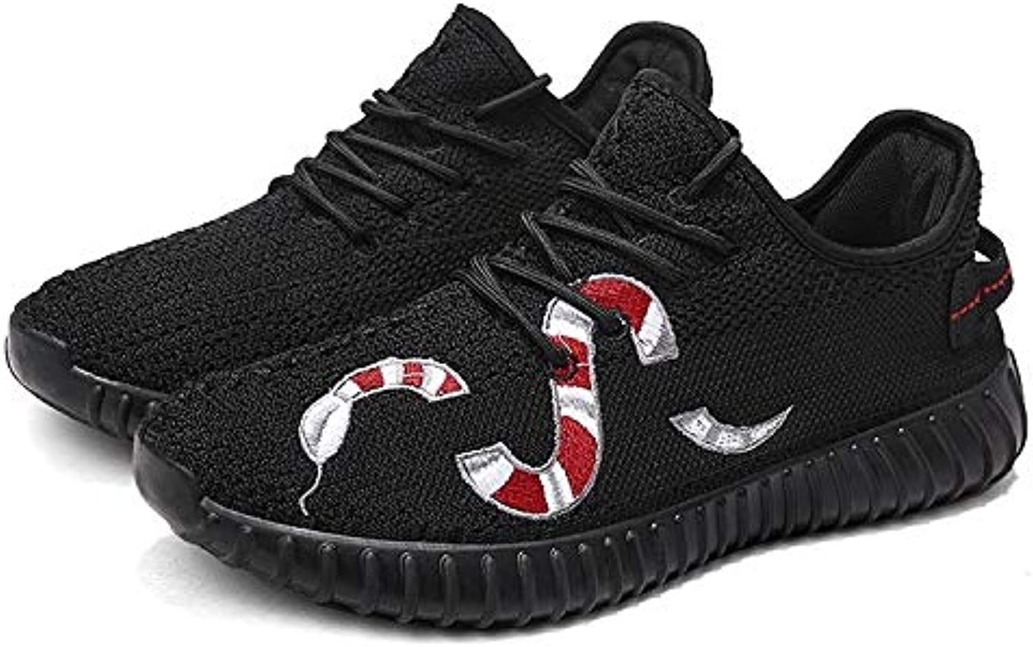 Anstorematealliance Outdoor&Sports shoes Embroidery Snake Pattern Breathable Flat Heel Sports Casual shoes for Men (color Black Size 39)